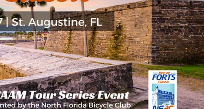 image of Castillo de San Marcos with text overlayed; Annual Tour de Forts Classic