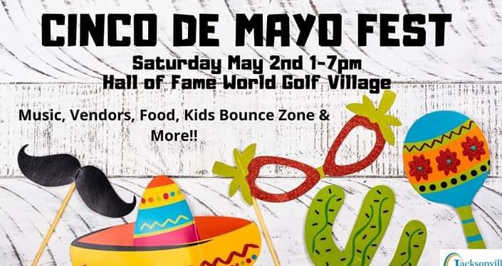 Cinco De Mayo Fest with cartoonish figures of sombrero, cactus, mar