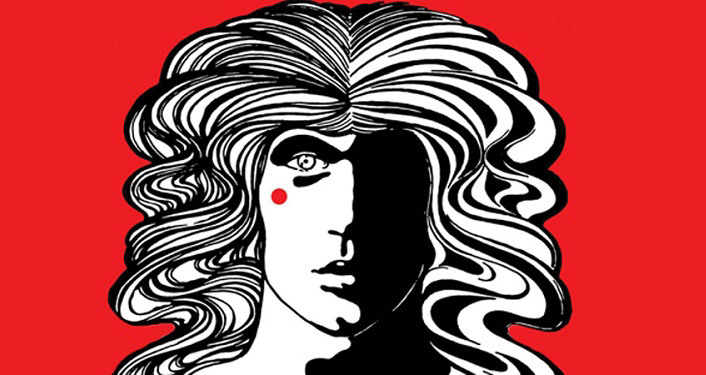 hand-drawn image of man with long, wavy hair, half of face black, half white; Apex Theatre Summer Series -- Godspell