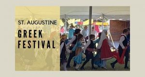 text: St. Augustine Greek Festival with image of young children in Greek folk-costumes dancing