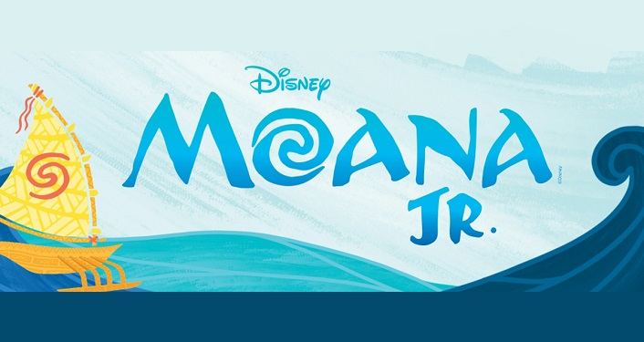 text in darker turquioise; Disney Moana Jr. - Apex Theatre Summer Series