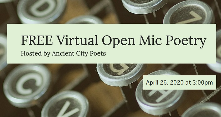 text in black over mint green, Ancient City Poets Virtual Open Mic Poetry