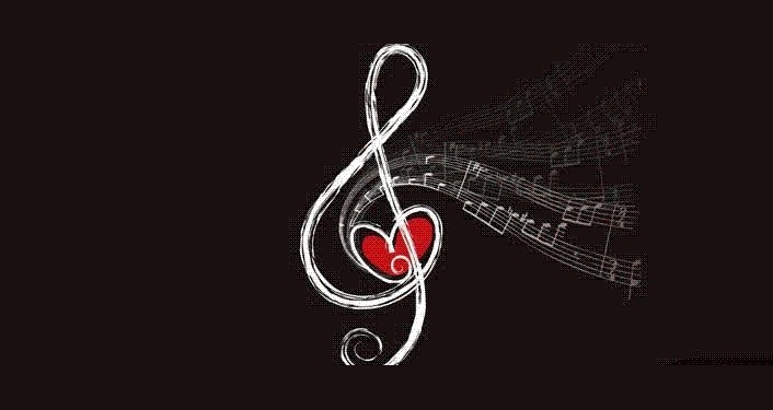 music note wrapped around a heart; St Anastasia Online Music Concert