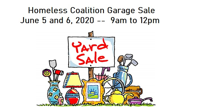 Homeless Coalition Garage Sale June 5 and 6, 2020