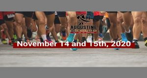 image of runners legs waiting on starting line; St. Augustine Half Marathon November 14 & 15, 2020