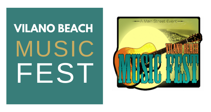 "Contains a logo of a guitar and text that reads ""Vilano Beach Music Fest."""