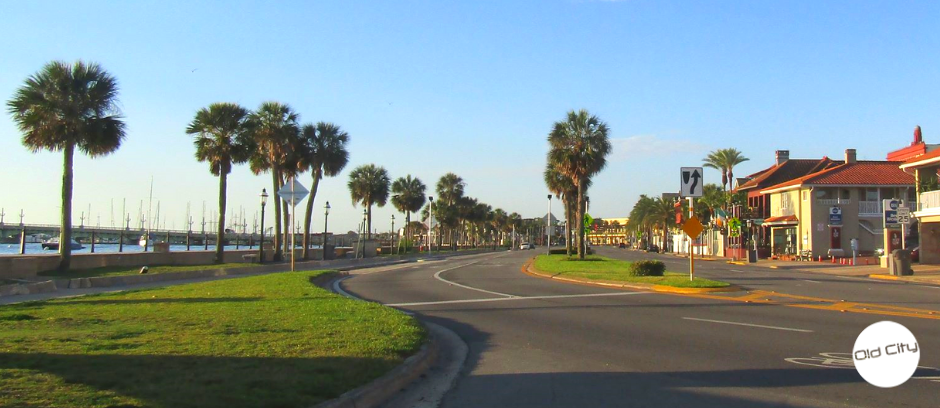 A street lined on one side by palm trees and the other side by St. Augustine businesses.