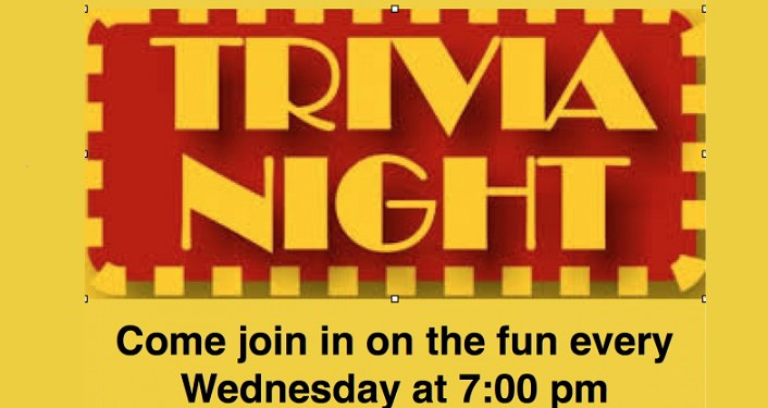 Yellow letters on red background, Trivia Night at The Corazon
