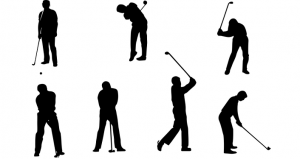 several images of golfers practicing different types of swings during Golf Clinics