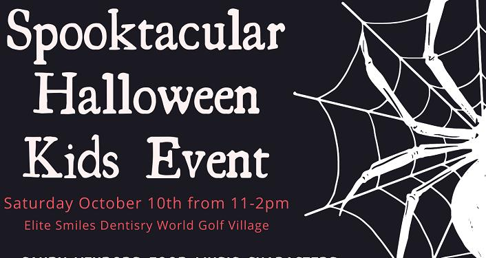 Spooktacular Halloween Kids Event, text in white on black background; image of spider web to right